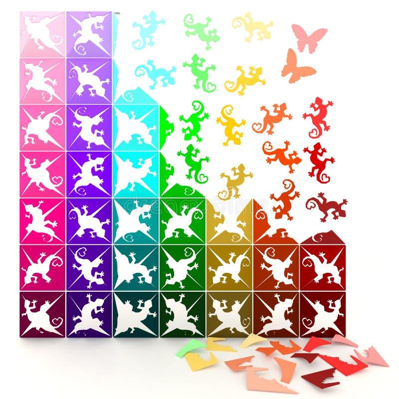 3D kleurrijke document hagedissendraai aan het leven, in figuurzaagstijl. vector illustratie