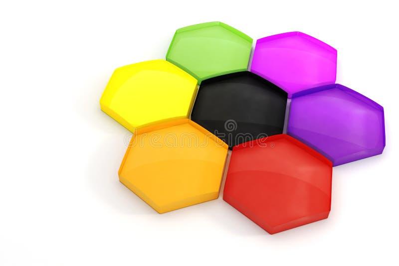 3d kleurrijke hexagonale raadselstukken stock illustratie