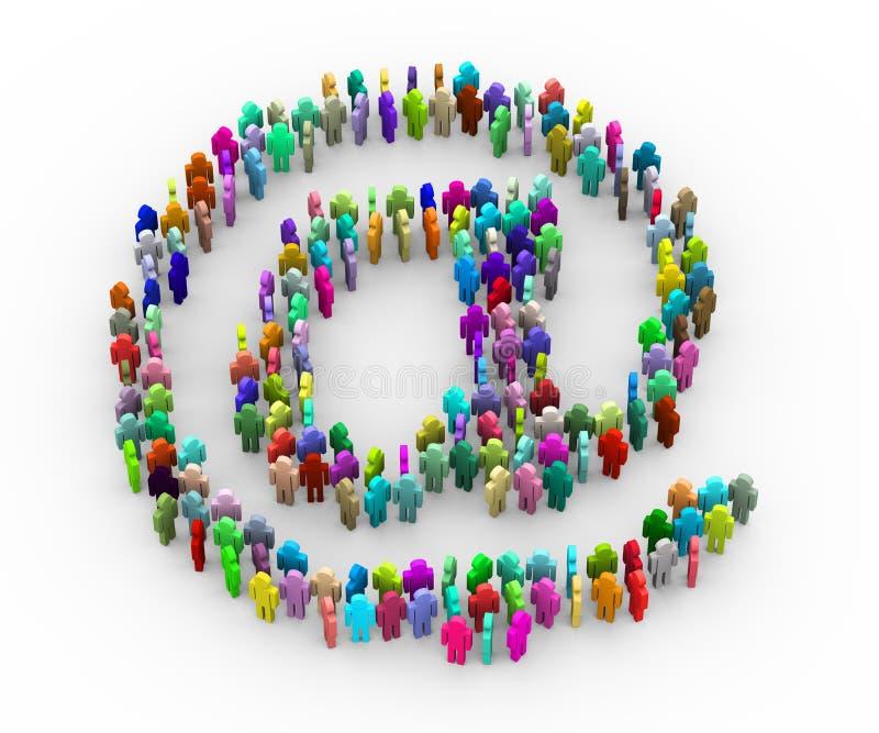 3d kleurrijke mensen bij e-mailtekensymbool vector illustratie