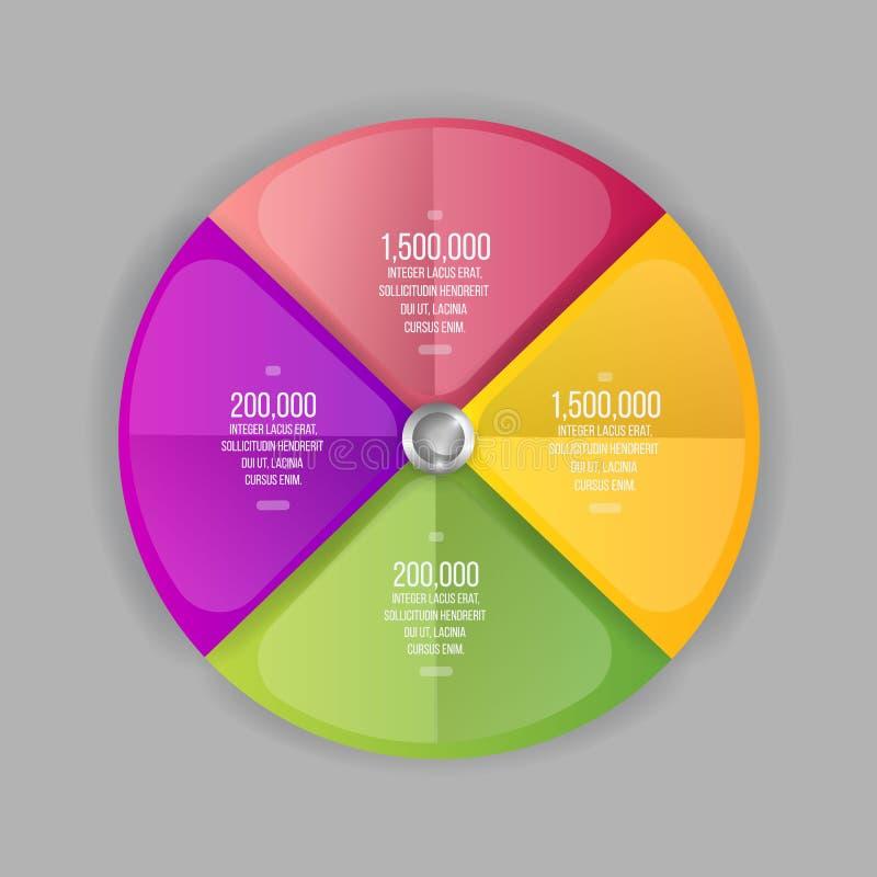 3d kleurrijke percentenpastei, ideeetiket voor informatie-grafiek vector illustratie
