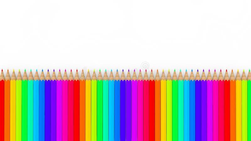 3d kleurrijke regenboogpotloden vector illustratie