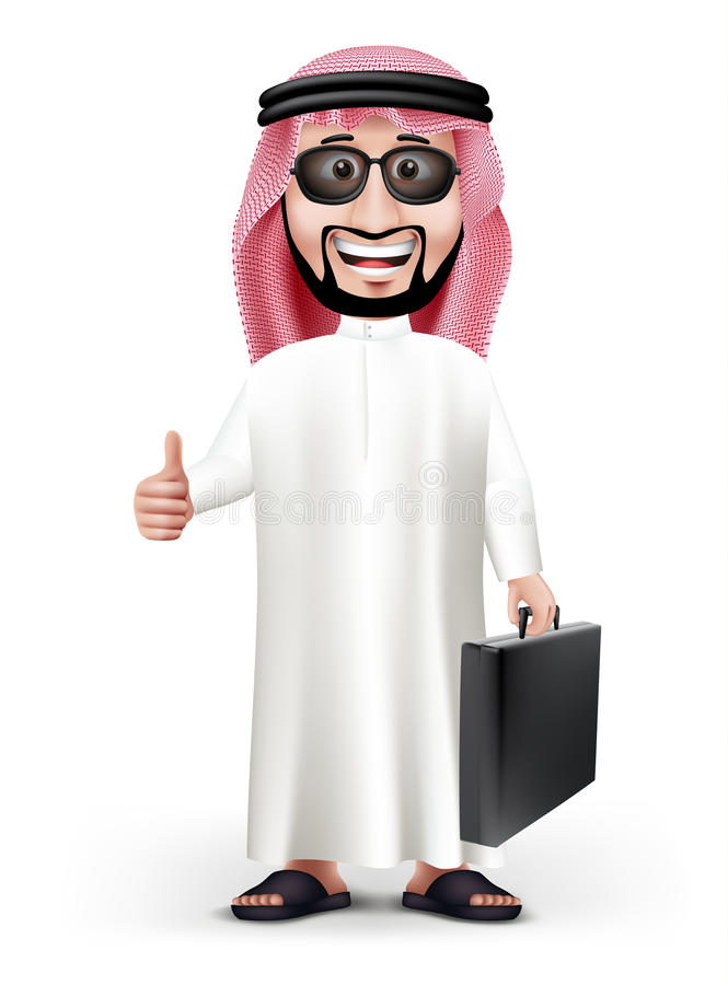 3D Knappe Saoediger - Arabische Mens in Traditionele Kleding stock illustratie