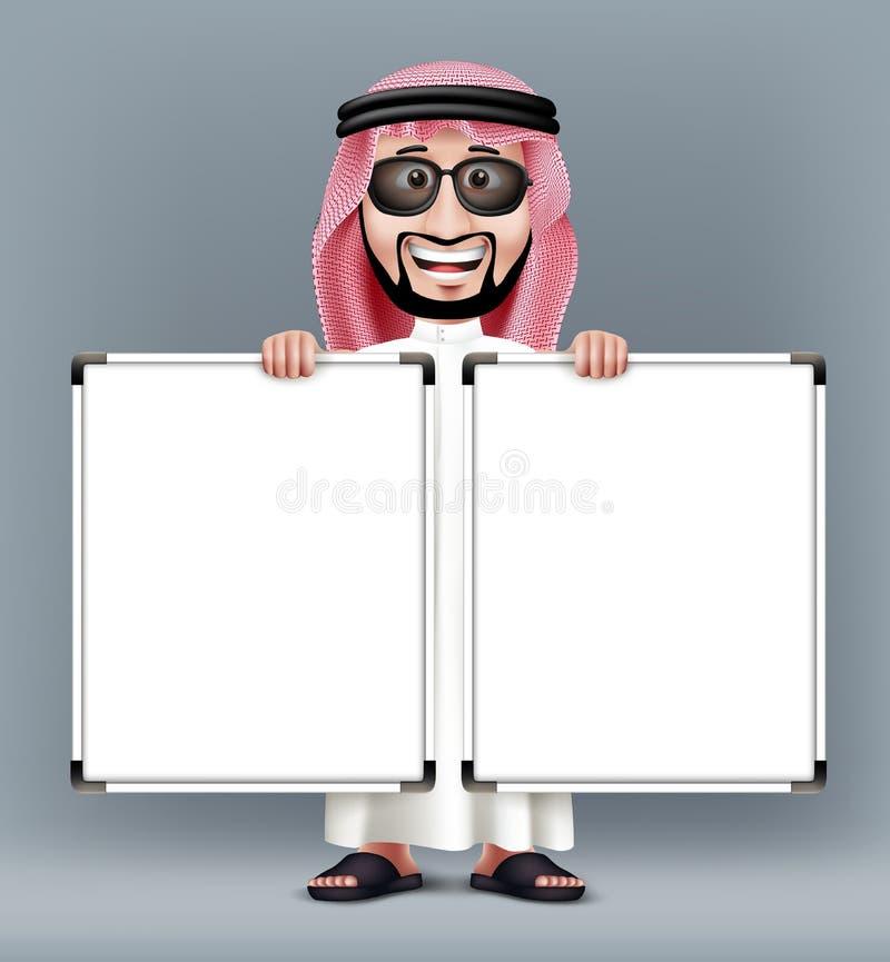 3D Knappe Saoediger - Arabische Mens in Traditionele Kleding royalty-vrije illustratie