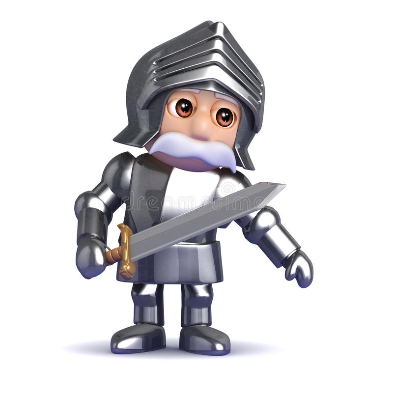 3d Knight in armour leans to the left. 3d render of a knight in armour royalty free illustration