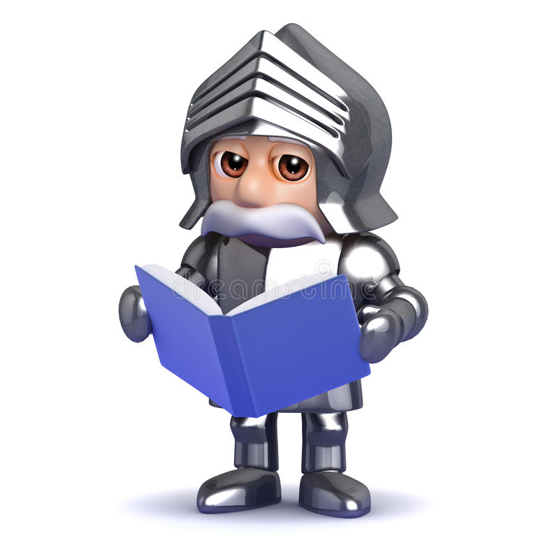 3d Knight Reads Royalty Free Stock Photo
