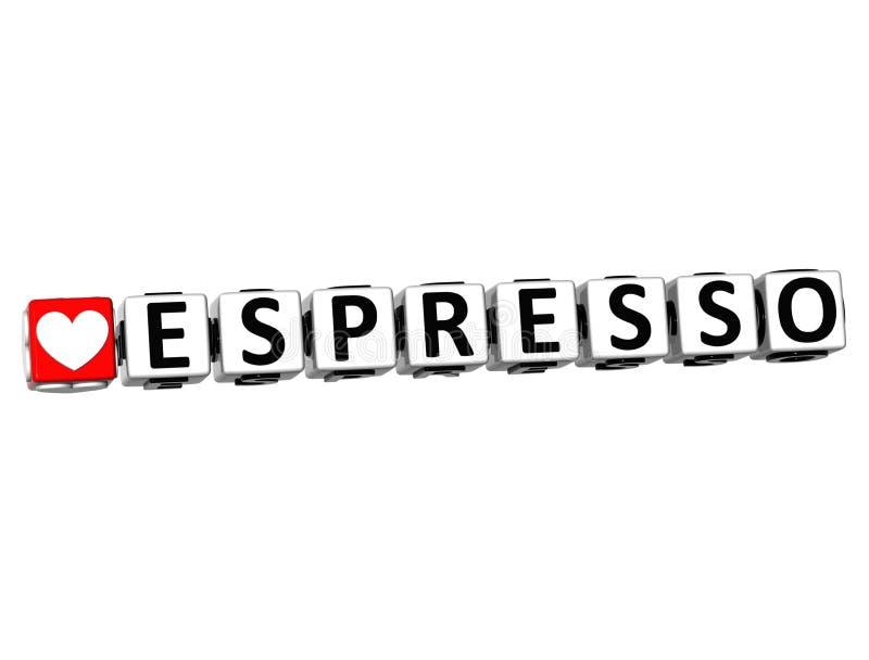 3D Knoop van de Liefdeespresso klikt hier Bloktekst stock illustratie