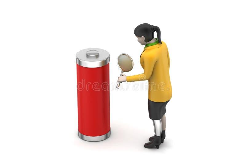 Download 3d kobieta z baterią ilustracji. Ilustracja złożonej z butla - 53777202