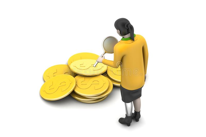 Download 3d kobieta z dolar monetą ilustracji. Ilustracja złożonej z abstrakt - 53777219