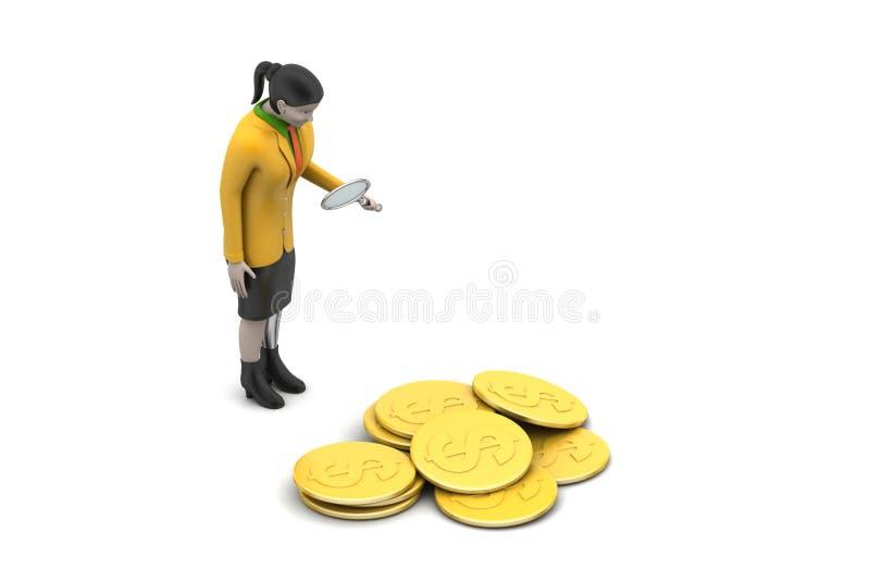 Download 3d kobieta z dolar monetą ilustracji. Ilustracja złożonej z arrowed - 53777227