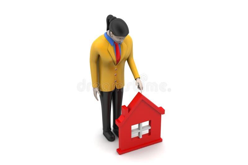 Download 3d Kobieta Z Domem, Nieruchomości Pojęcie Ilustracji - Ilustracja złożonej z grafika, architektury: 53777364