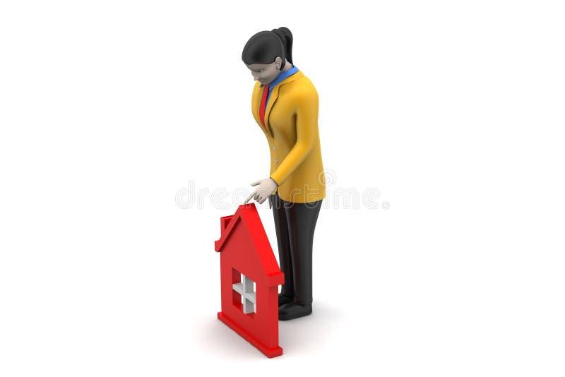 Download 3d Kobieta Z Domem, Nieruchomości Pojęcie Ilustracji - Ilustracja złożonej z blisko, ilustracje: 53777368
