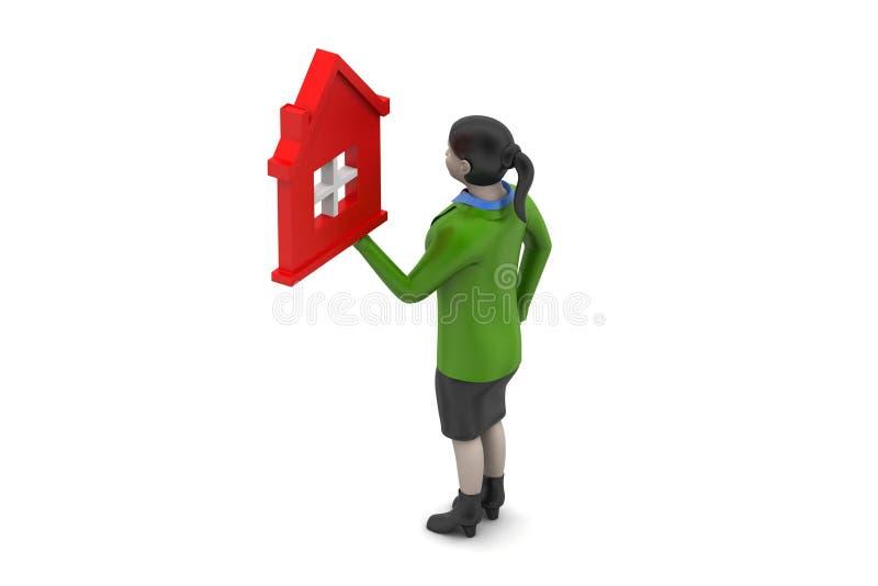 Download 3d Kobieta Z Domem, Nieruchomości Pojęcie Ilustracji - Ilustracja złożonej z real, osoba: 53778426