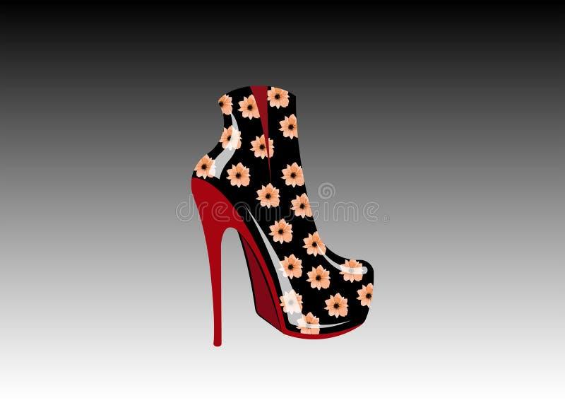 3D kobiety kwieciści buty na szpilkach, boczny widok, loga obuwiany sklep, sklep, moda butika inkasowa etykietka Firma loga proje royalty ilustracja