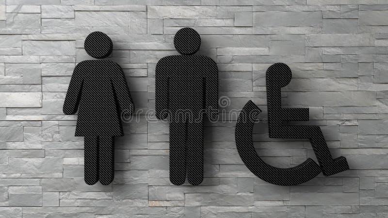 3d kobiety toaletowy mężczyzna i obezwładniający znaki na białym ściana z cegieł ilustracji
