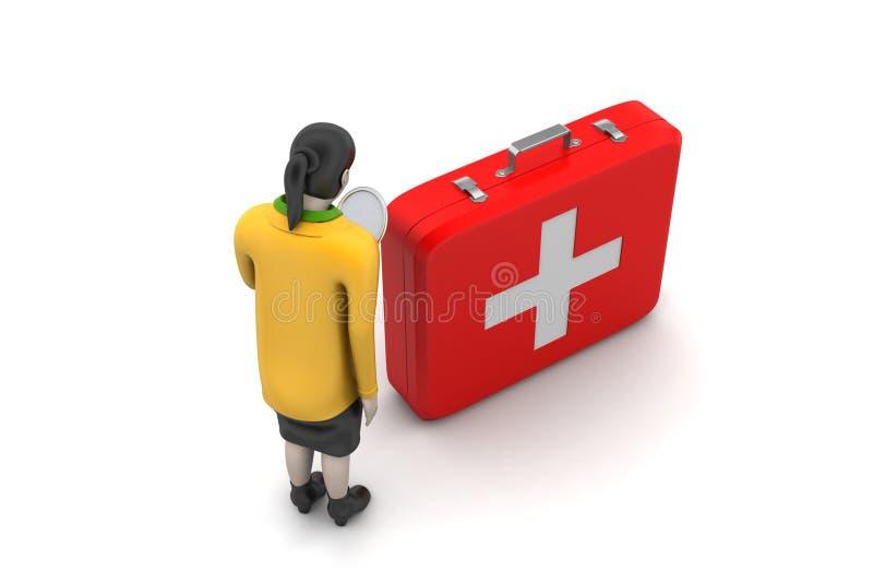 Download 3d Kobiety Z Pierwszej Pomocy Pudełkiem Ilustracji - Ilustracja złożonej z wyposażenie, zdrowy: 53777273