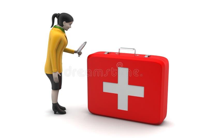 Download 3d Kobiety Z Pierwszej Pomocy Pudełkiem Ilustracji - Ilustracja złożonej z skrzynka, pudełko: 53777280