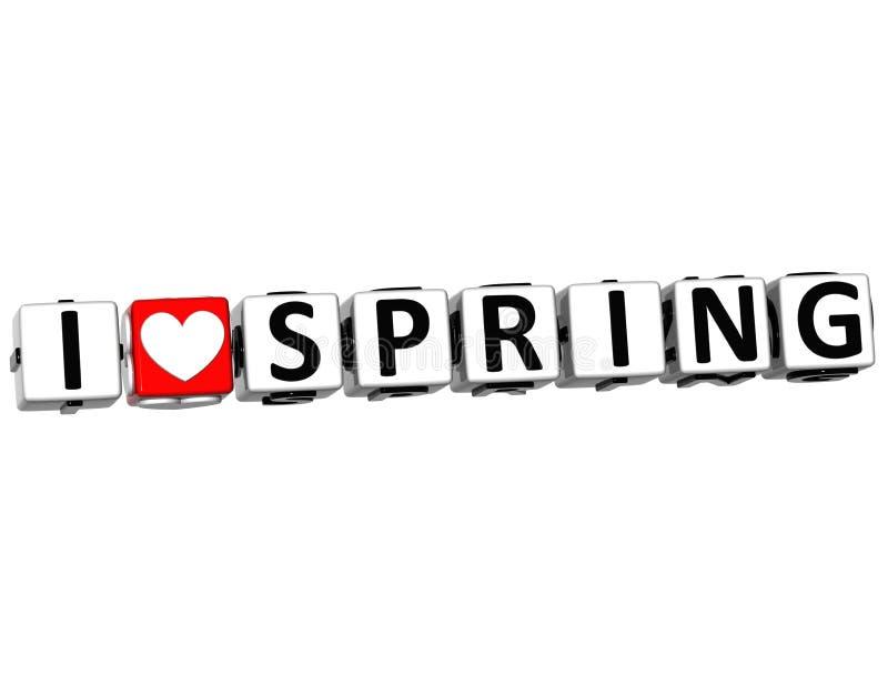3D Kocham wiosna guzika Klikają Tutaj Blokowego tekst ilustracji