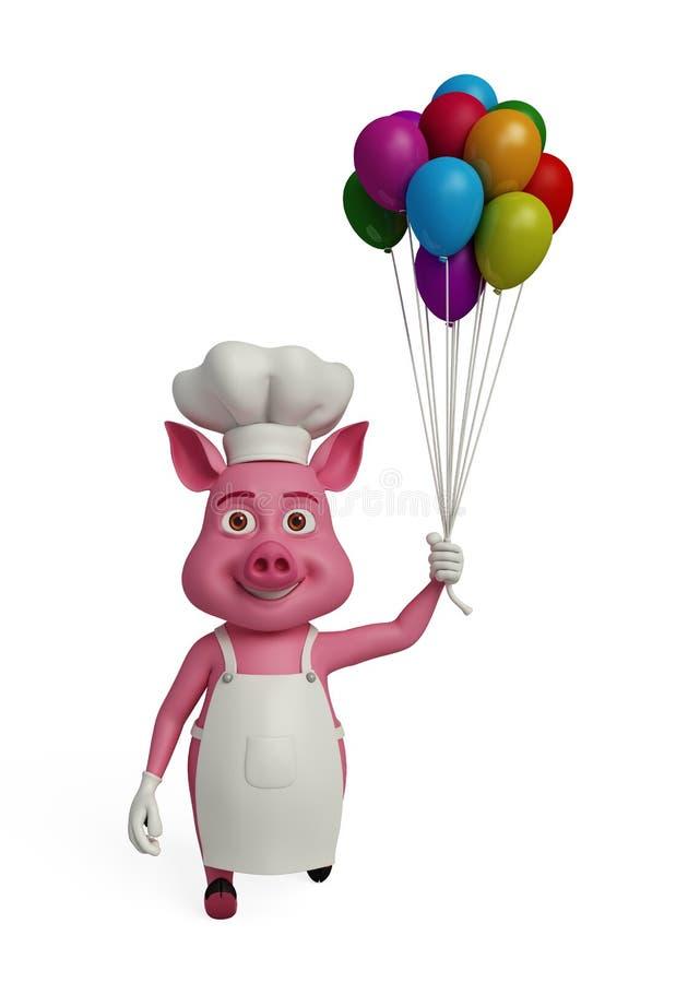 3d kock Pig med ballons royaltyfri illustrationer