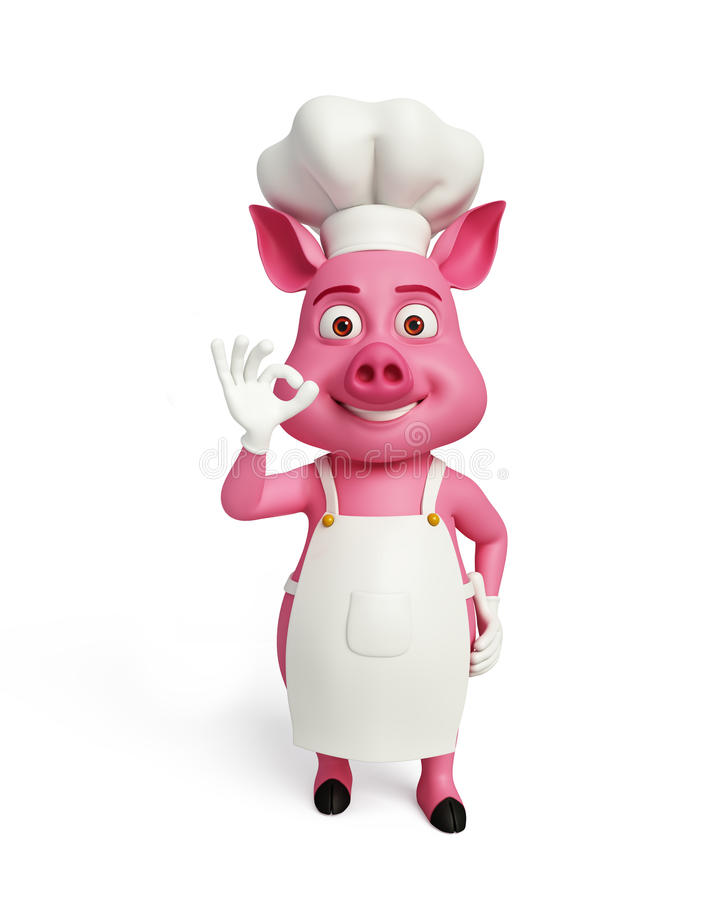 3d kocken Pig med det bästa tecknet poserar royaltyfri illustrationer
