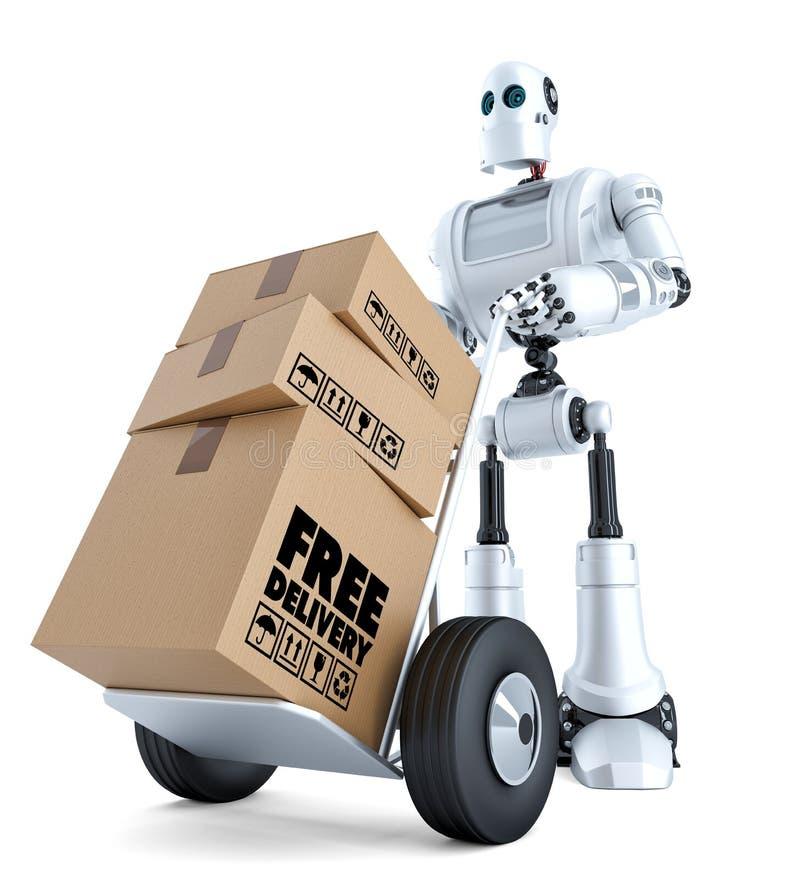 3d Koerier Robot met handvrachtwagen Vrij leveringsconcept Geïsoleerd met het knippen van weg vector illustratie
