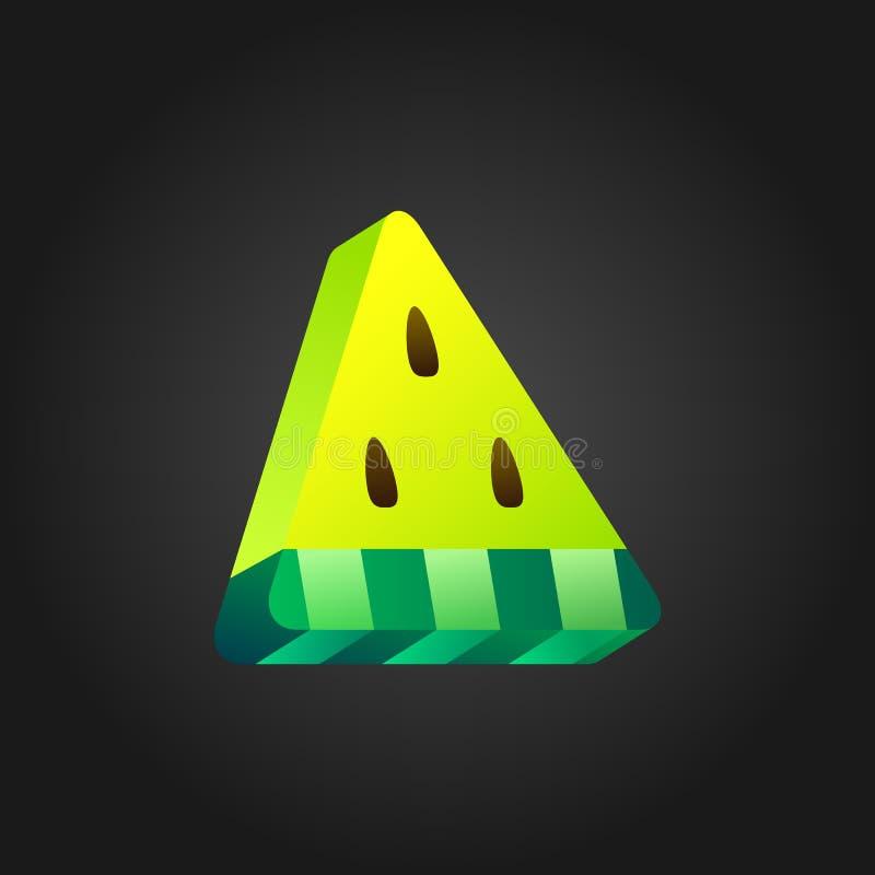 3D kolor żółty stylizował arbuz ikonę na czarnym tle Isometric ilustracja kawałka arbuz Kolorowy projekt ilustracji
