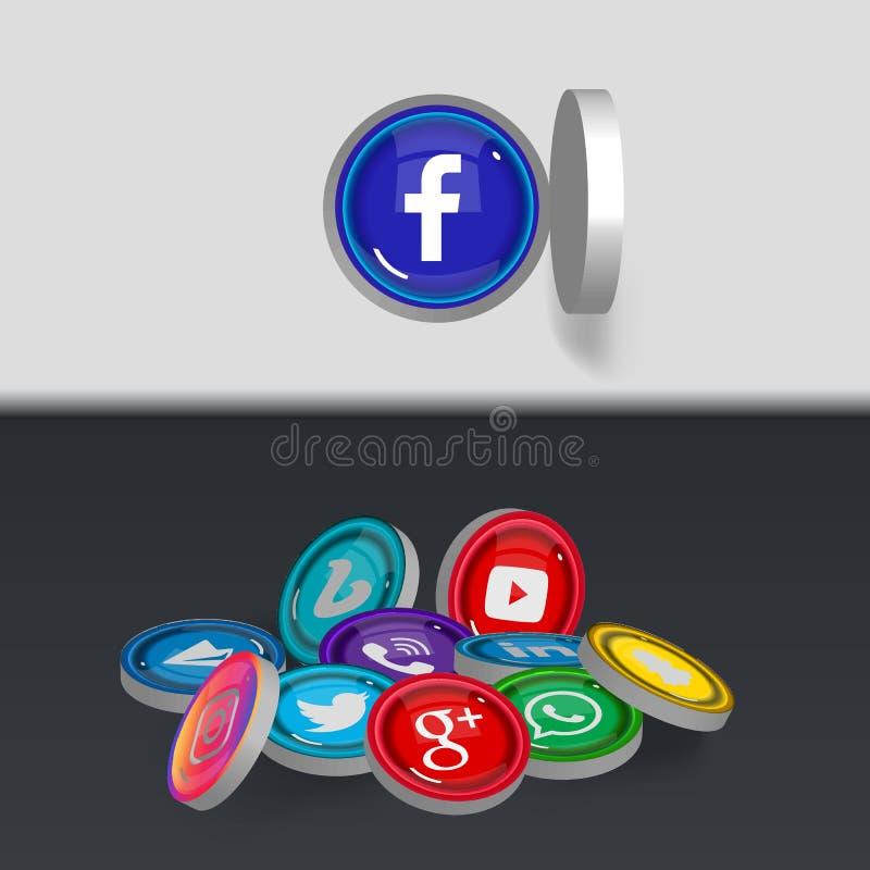 3D Kolorowe Ogólnospołeczne Medialne ikony ilustracja wektor