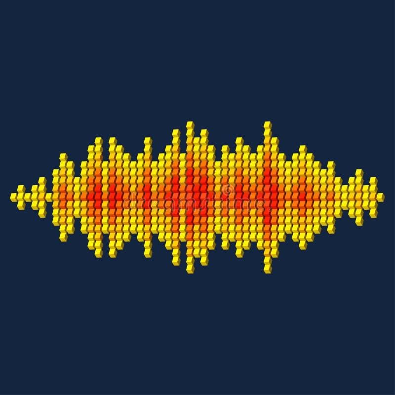 3D koloru żółtego dźwięka waveform robić sześciany ilustracja wektor