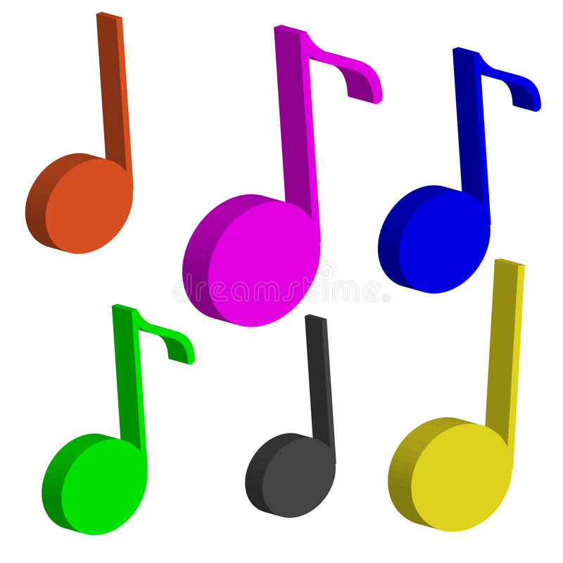 3D koloru notatki odizolowywać na białym tle muzyka ilustracji