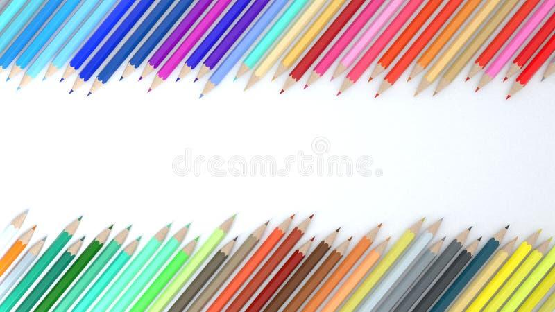 3d koloru ołówek na białym tle obrazy stock