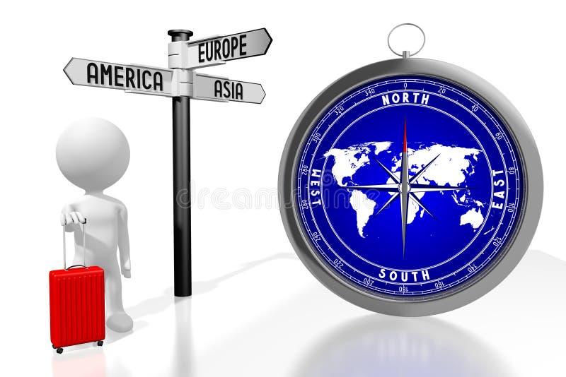 3D kompass, turist- begrepp royaltyfri illustrationer