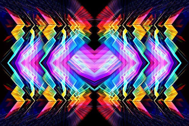 3d komputer wytwarzał artystycznego unikalnego jaskrawego futurystycznego abstrakcjonistycznego stubarwnego fractal kolorów odbić ilustracja wektor
