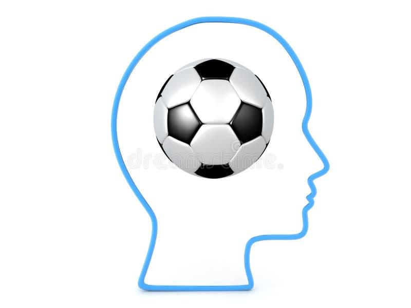 3D kontur głowa z futbolem wśrodku go ilustracja wektor