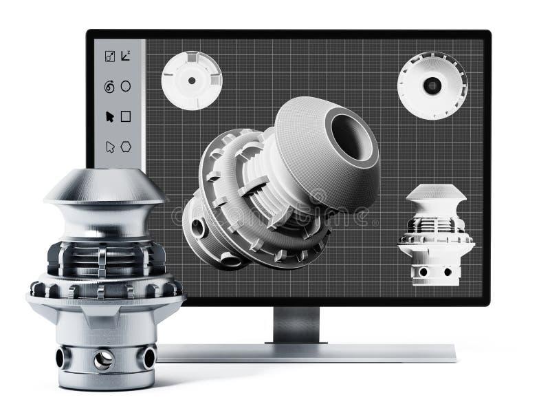 3D Konzeption- des Produktssoftware und hergestelltes Produkt Abbildung 3D lizenzfreie abbildung