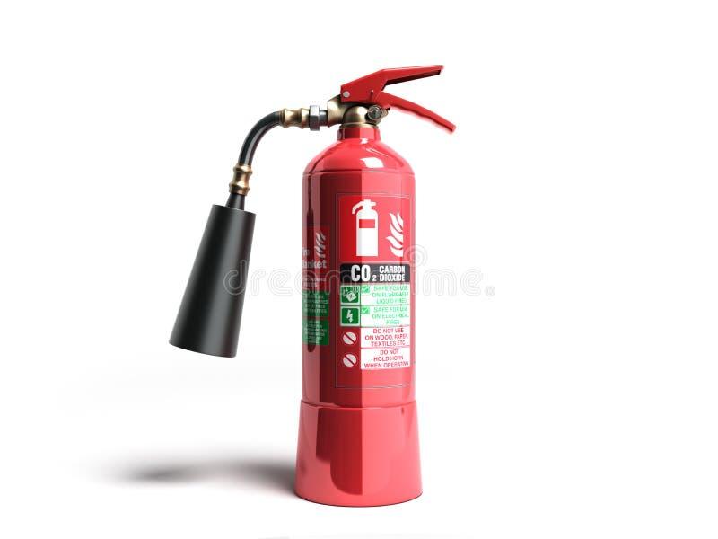 3d Kooldioxidehet brandblusapparaat geeft op witte achtergrond terug vector illustratie