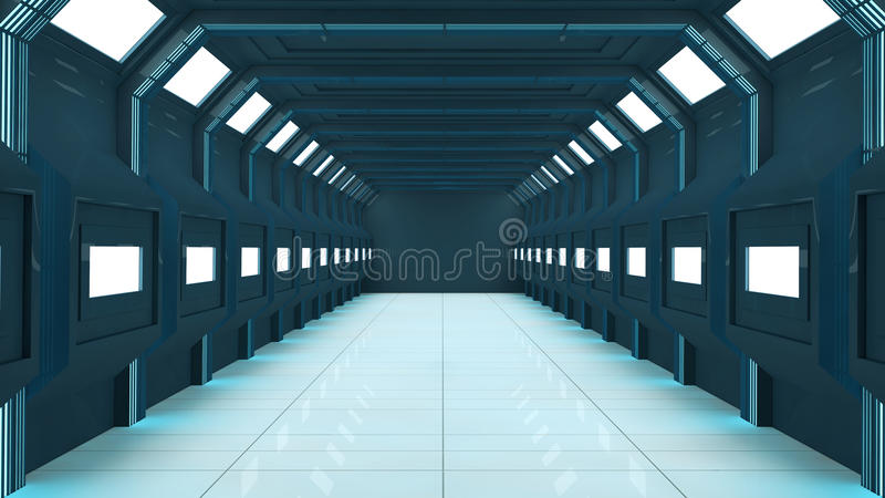 3d korytarz futurystyczny royalty ilustracja