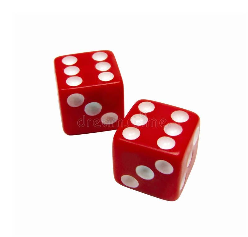 3d kostka do gry ilustracja odizolowywał czerwień odpłacającego się biel zdjęcie royalty free
