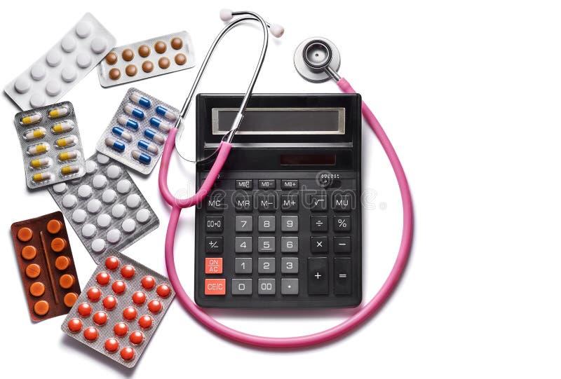 3d kosztu wizerunku odosobnionej medycyny op?acony traktowanie tabletki ?pa Copyspace obrazy stock