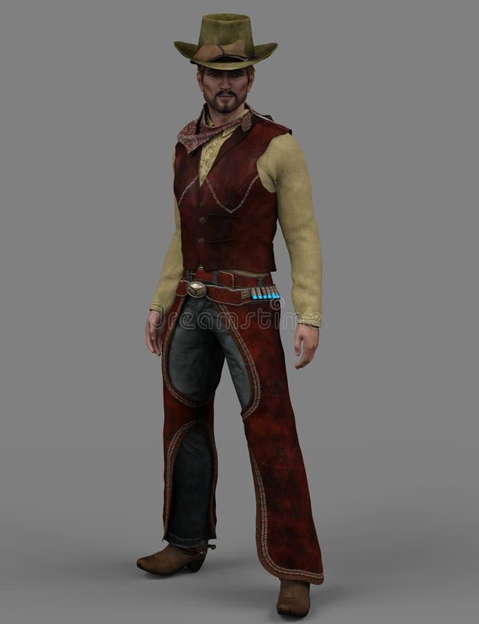 3D kowboj z kapeluszem ilustracja wektor