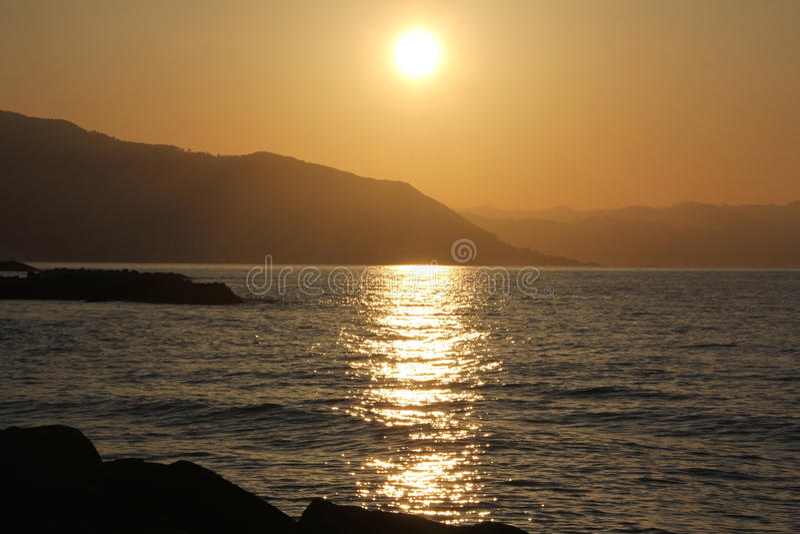3 d krajobrazu panoramy morza słońca zdjęcie royalty free
