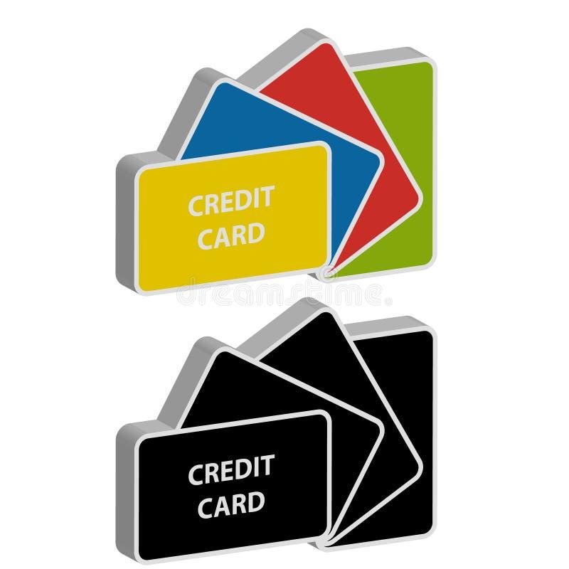 3D kredytowe karty na białym tle ilustracja wektor