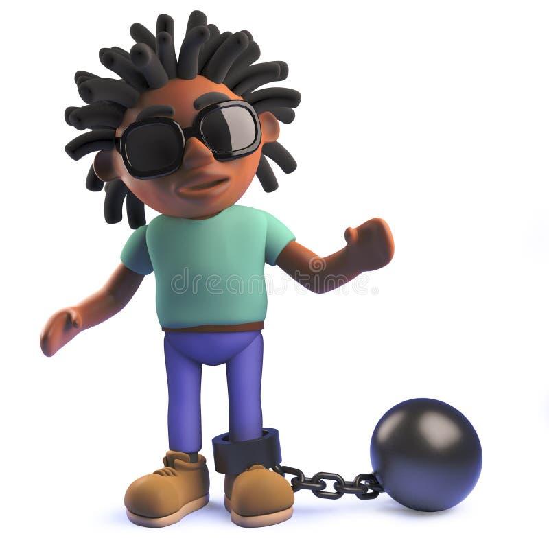 3d kreskówki Afrykański rastafarian mężczyzna w 3d z łańcuchem i balowym ilustracji