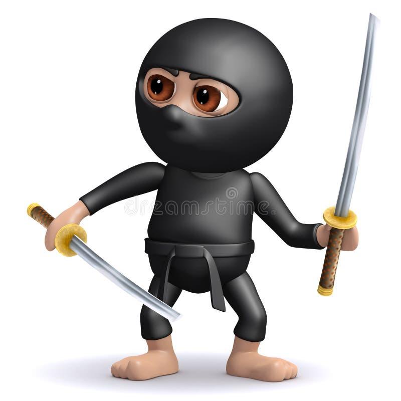 3d kreskówki ninja wojownika Śmieszny zabójca z dwa kordzikami ilustracji