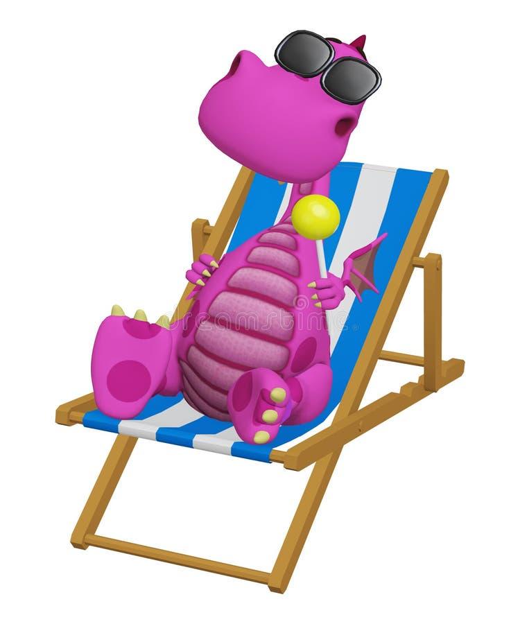 3d kreskówki smok relaksuje w jego plażowym krześle ilustracja wektor