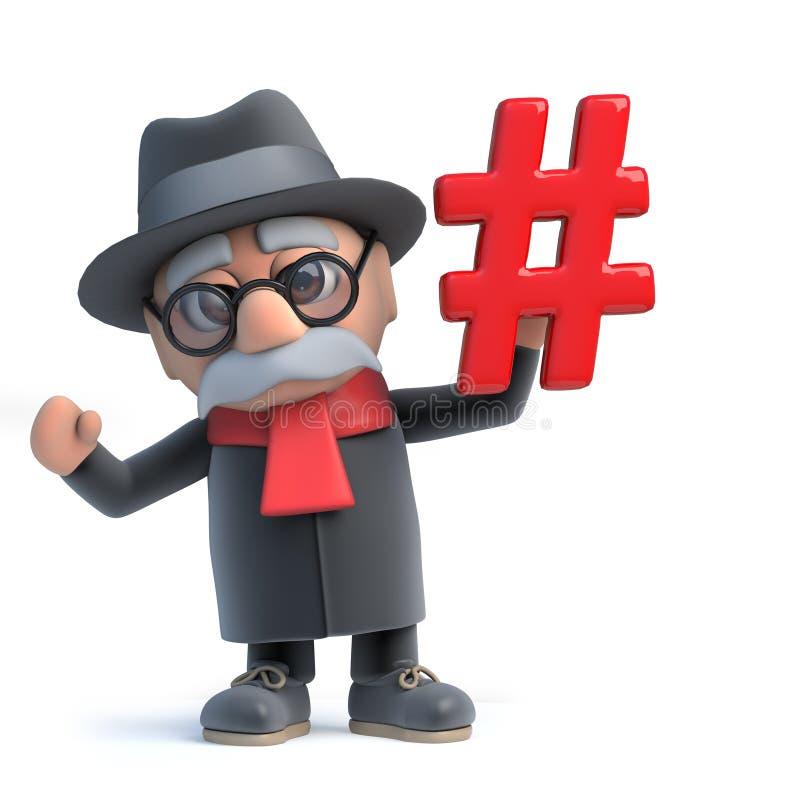 3d kreskówki starego człowieka Śmieszny charakter trzyma hashtag symbol ilustracji