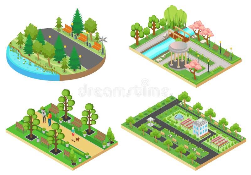3d kreskówki stylu zieleni miasta jawnego parka Isometric pojęcia ustawiają wektorową ilustrację ilustracji