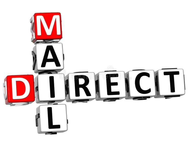 3D krijg Direct mailkruiswoordraadsel stock illustratie