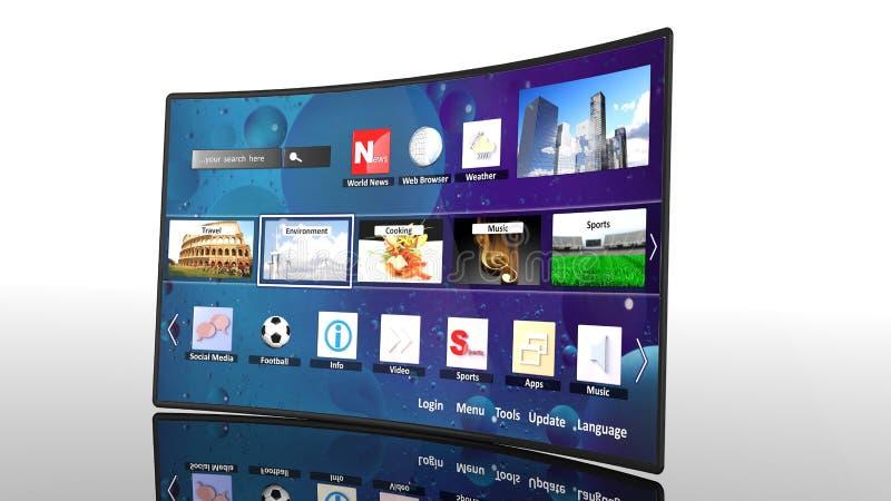 3D kromme slimme TV met pictogrammen stock illustratie