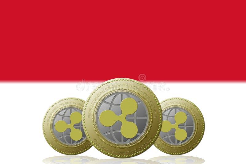 3D KRUSNINGScryptocurrency för ILLUSTRATION tre med den Monaco flaggan på bakgrund royaltyfri illustrationer
