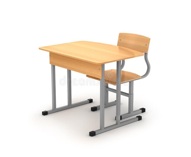 3 d krzesła biurka podobieństwo do szkoły royalty ilustracja