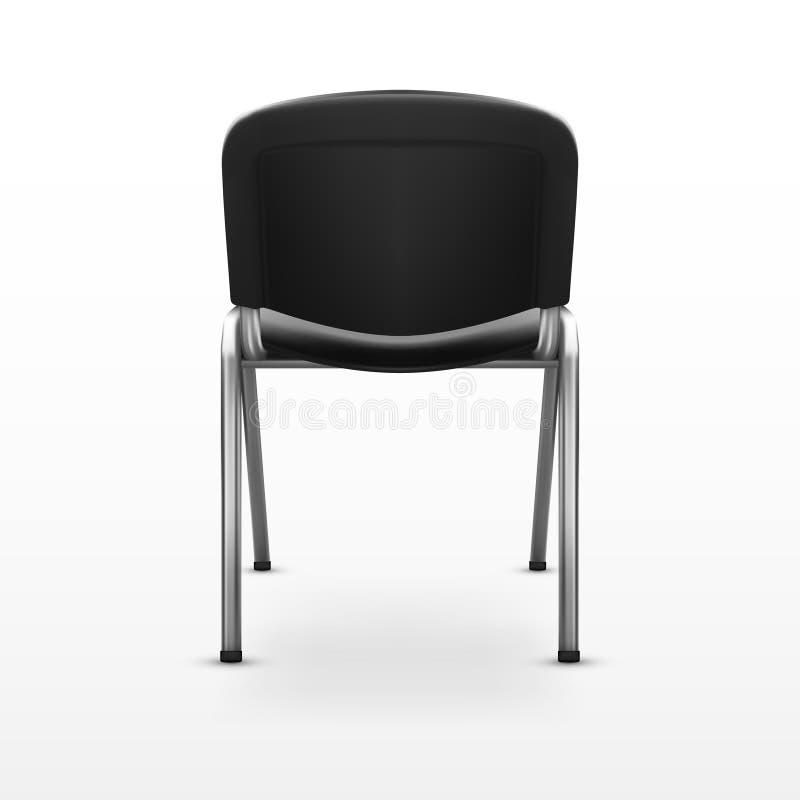 3D krzesła czerni Nowożytny Biurowy płótno widok z powrotem ilustracji